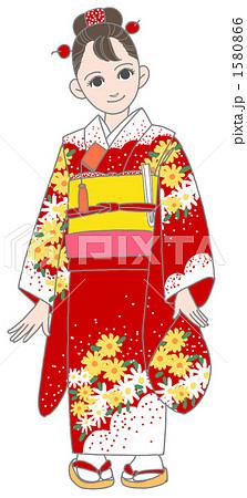 赤い帯 着物のイラスト素材 Pixta