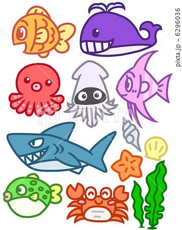 魚 キャラクター かわいい Cgのイラスト素材 Pixta