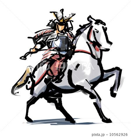 騎馬 武者 戦国時代 馬のイラスト素材 Pixta