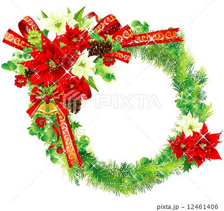 クリスマスリース メリークリスマス ポインセチア 針葉樹のイラスト素材