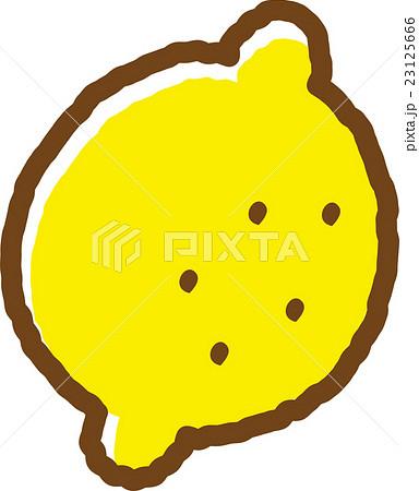 レモン かわいい 白バック イラスト フルーツの写真素材 Pixta