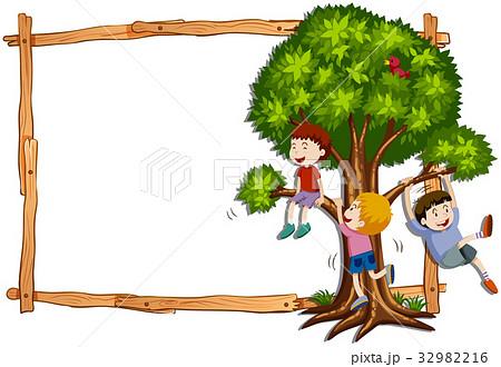 木登り 子供 登るのイラスト素材 Pixta