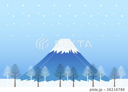 冬富士 積雪 冬 富士山のイラスト素材 Pixta