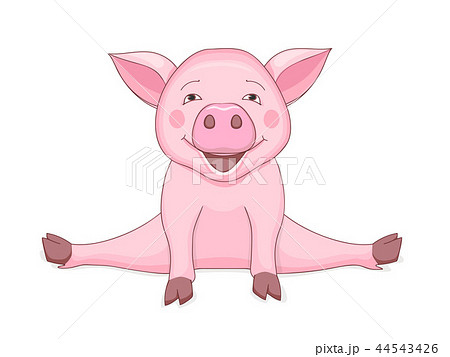 豚 かわいい 白バック 動物 ペット 子豚 イラスト キュートのイラスト