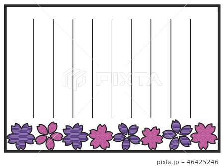 便箋 イラスト 和風 手紙 花のイラスト素材 Pixta
