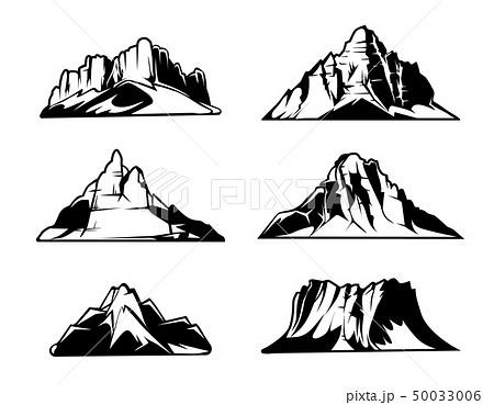 ベクター モノクロ 山 シンプルのイラスト素材 Pixta
