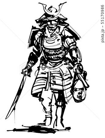 鎧武者 武士 甲冑のイラスト素材 Pixta