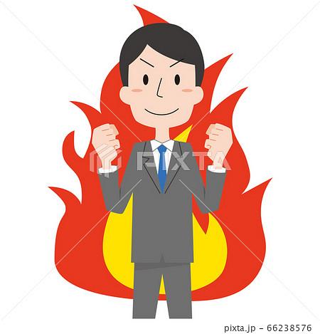 やる気で燃える男性会社員 主線なし